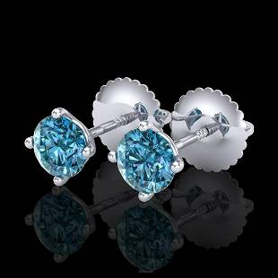 065 ctw Fancy Intense Blue Diamond Art Deco Earrings