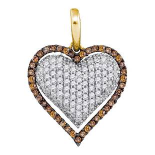10kt Yellow Gold Round Brown Diamond Outline Heart