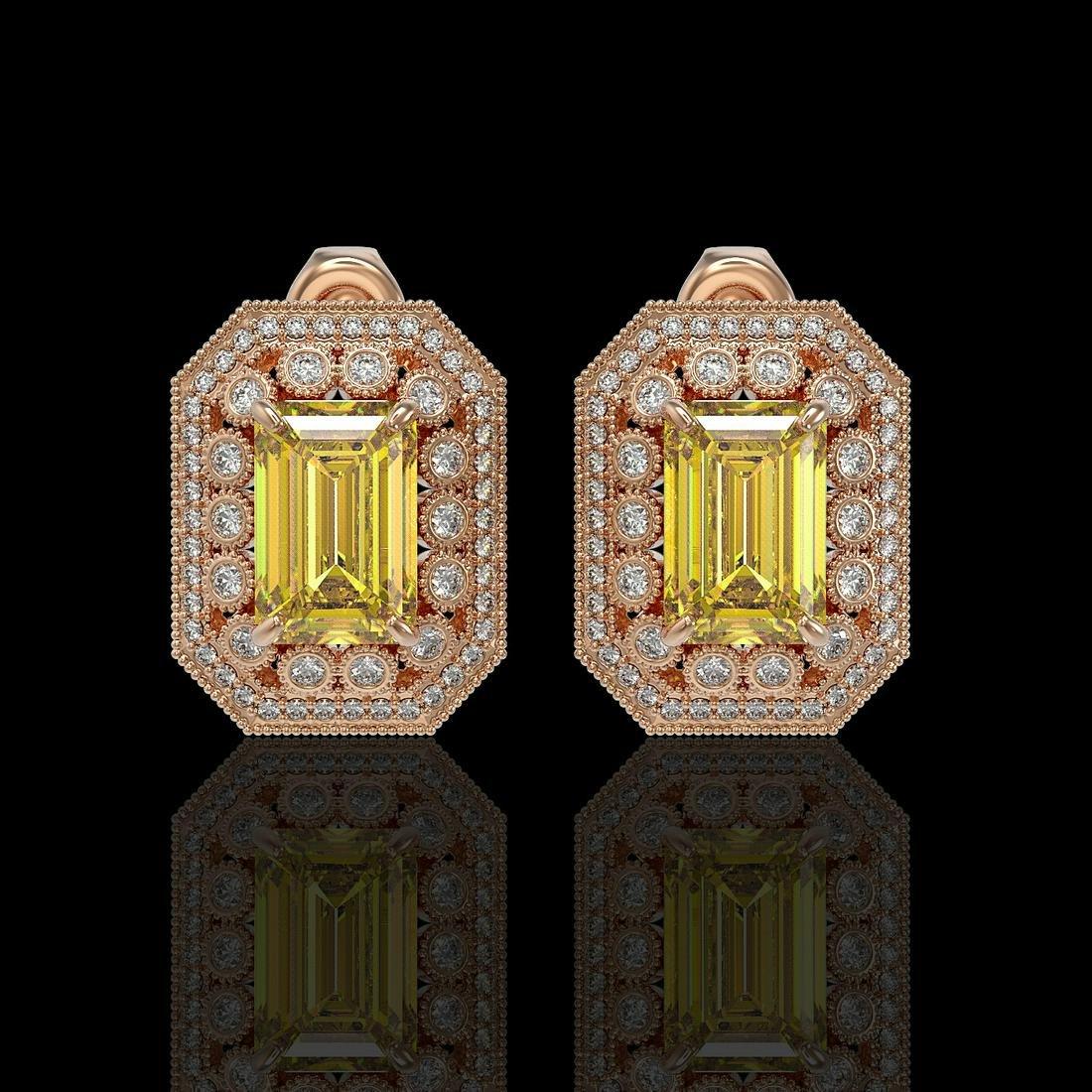 11.03 ctw Canary Citrine & Diamond Earrings 14K Rose