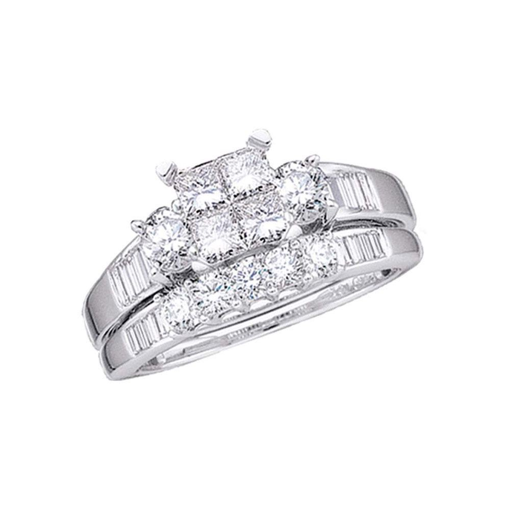 10kt White Gold Princess Diamond Bridal Wedding