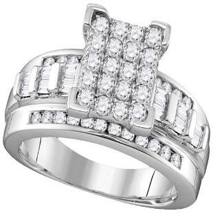 10kt White Gold Round Diamond Elevated Rectangle