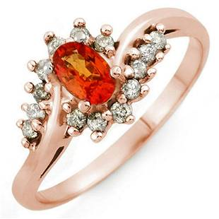 055 ctw Orange Sapphire Diamond Ring 18K Rose Gold