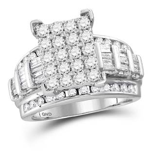 10kt White Gold Round Diamond Cindys Dream Cluster
