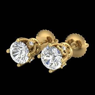 126 ctw VSSI Diamond Solitaire Art Deco Stud Earrings