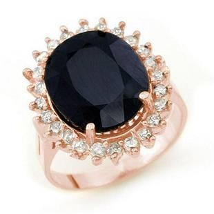 1410 ctw Blue Sapphire Diamond Ring 14K Rose Gold