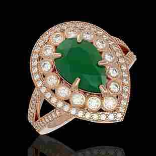 512 ctw Emerald Diamond Ring 14K Rose Gold