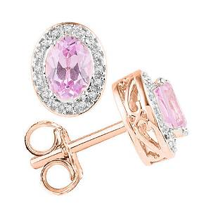 10kt Rose Gold Oval Morganite Stud Diamond Accent