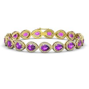 1676 ctw Amethyst Diamond Halo Bracelet 10K Yellow