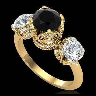 3 ctw Fancy Black Diamond Art Deco 3 Stone Ring 18K