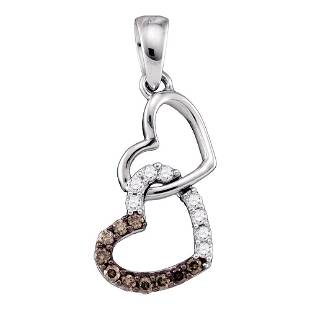 10kt White Gold Round Brown Diamond Dangling Double