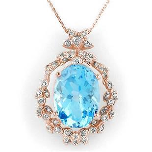 1880 ctw Blue Topaz Diamond Necklace 14K Rose Gold