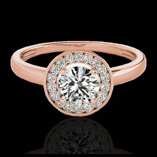 115 ctw HSII Diamond Solitaire Halo Ring 10K Rose