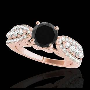 170 ctw VS Black Diamond Solitaire Ring 10K Rose Gold