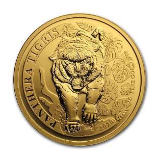 2020 Laos 1 oz Gold 2000 KIP Tiger BU Panthera Tigris