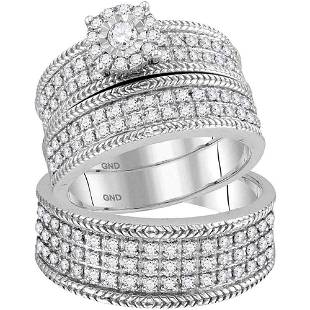 10kt White Gold His Hers Round Diamond Solitaire