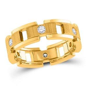 14kt Yellow Gold Mens Round Diamond Link Chain Wedding