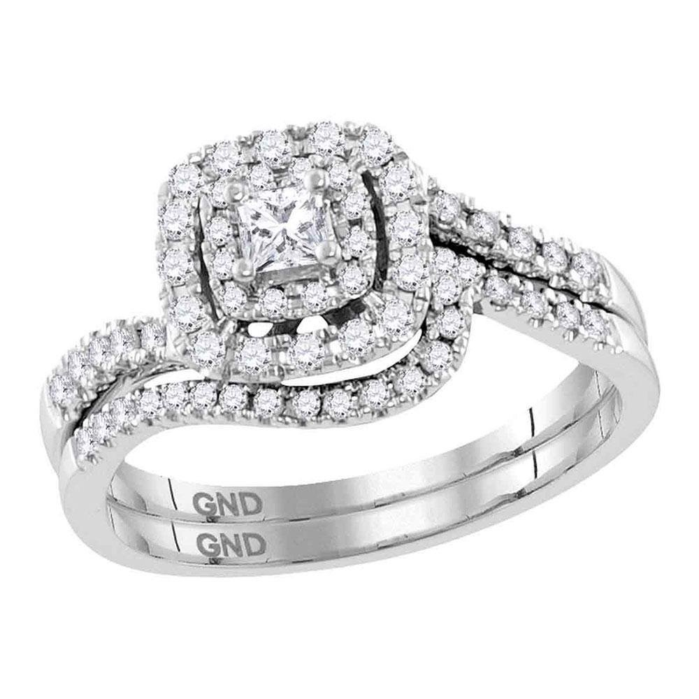 14kt White Gold Princess Diamond Bridal Wedding