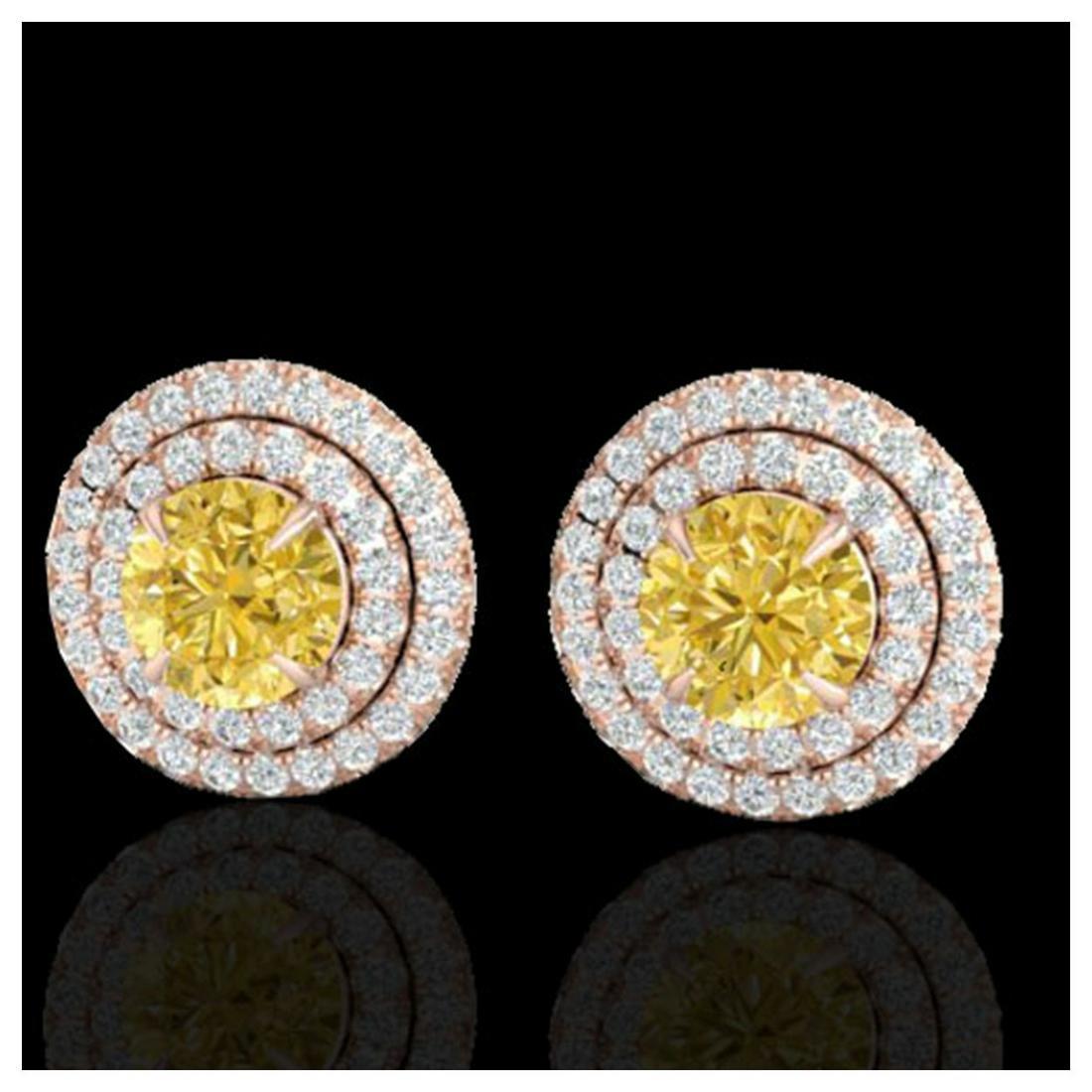 2 ctw Citrine & VS/SI Diamond Stud Earrings 14K Rose
