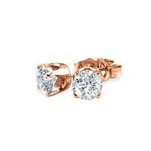 050 ctw VSSI Diamond Stud Earrings 18K Rose Gold