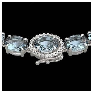64 ctw Aquamarine VSSI Diamond Eternity Necklace 14K
