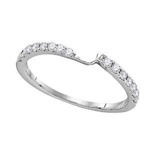 14kt White Gold Round Diamond 2stone Wedding Band 14