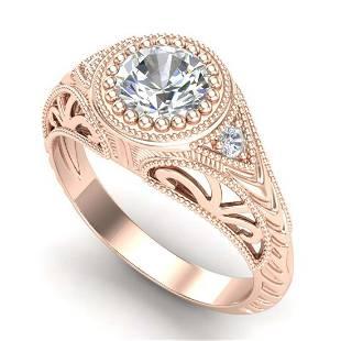 107 ctw VSSI Diamond Solitaire Art Deco Ring 18K Rose