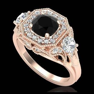 211 ctw Fancy Black Diamond Art Deco 3 Stone Ring 18K