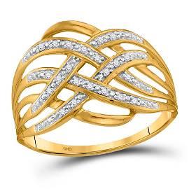 10kt Yellow Gold Round Diamond Woven Fashion Band Ring
