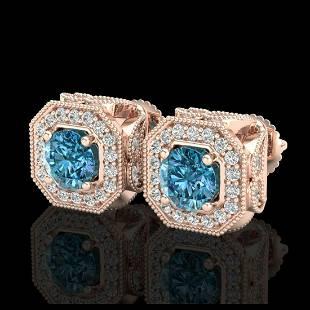 275 ctw Fancy Intense Blue Diamond Art Deco Earrings