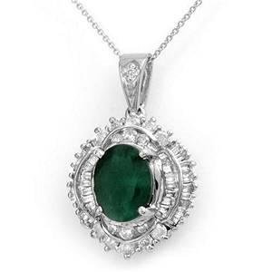 5.35 ctw Emerald & Diamond Pendant 18K White Gold