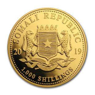 2019 Somalia 1 oz Gold African Elephant Chicago ANA