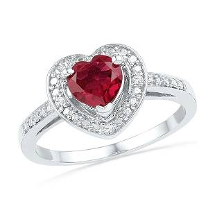 10kt White Gold Round LabCreated Ruby Heart Ring 100