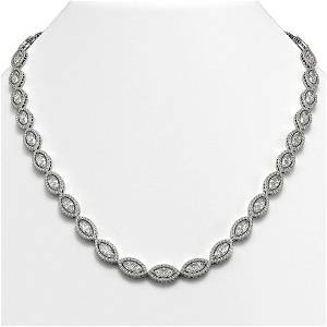 28.12 ctw Marquise Diamond Necklace 18K White Gold