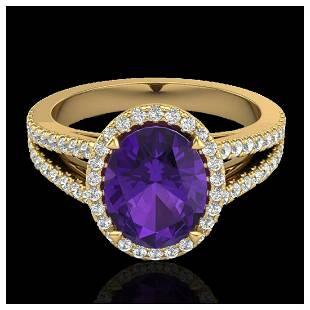 3 ctw Amethyst VSSI Diamond Halo Ring 18K Yellow