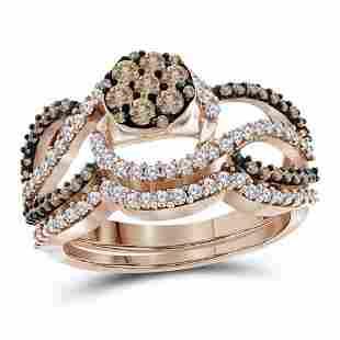 10kt Rose Gold Round Brown Diamond Cluster Bridal