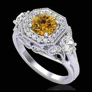 211 ctw Intense Fancy Yellow Diamond Art Deco Ring 18K