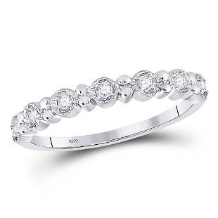 10kt White Gold Round Diamond Stackable Band Ring 110