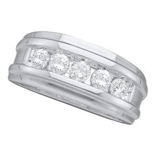 14k White Gold Round Channelset Diamond Mens Wedding