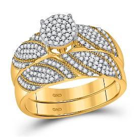 10kt Yellow Gold Round Diamond Cluster Bridal Wedding