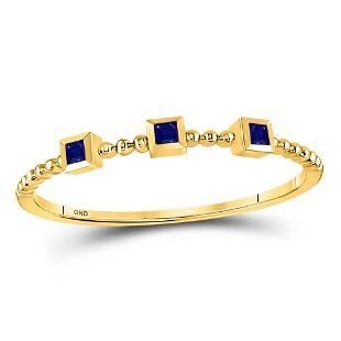 10kt Yellow Gold Princess Blue Sapphire 3Stone Beaded