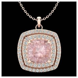 1.97 ctw Morganite & VS/SI Diamond Necklace 14K Rose