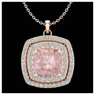 197 ctw Morganite VSSI Diamond Necklace 14K Rose