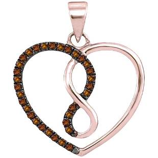 10kt Rose Gold Round Brown Diamond Heart Infinity