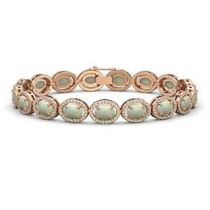 14.24 ctw Opal & Diamond Halo Bracelet Rose 10K Rose