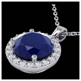 2 ctw Sapphire Halo VSSI Diamond Necklace 18K White