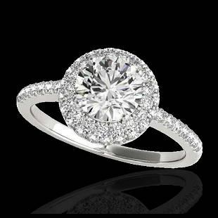 160 ctw HSII Diamond Solitaire Halo Ring 10K White