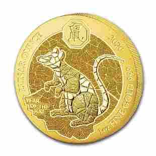 2020 Rwanda 1 oz Gold Lunar Year of the Rat BU