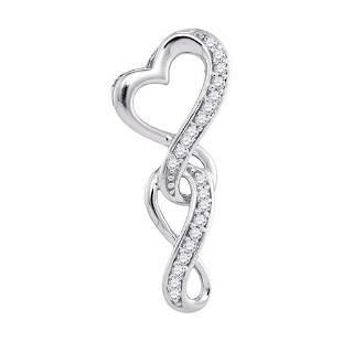 10kt White Gold Round Diamond Heart Infinity Pendant