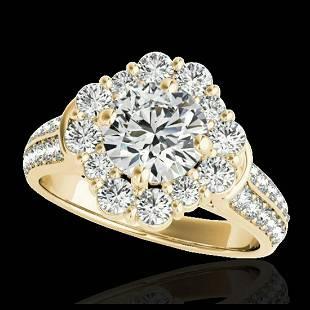 281 ctw HSII Diamond Solitaire Halo Ring 10K Yellow