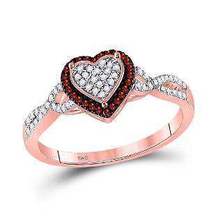 10kt Rose Gold Round Red Color Enhanced Diamond Heart